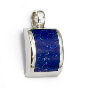 Jewelry - Deep Blue Curved Lapis Lazuli Pendant in Silver